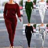 O-neck Long Sleeve Solid Tracksuit 2 pcs - S-2XL - 5 Colors