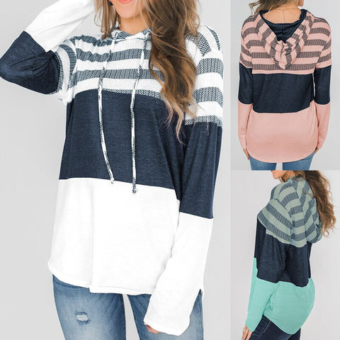 Striped Drawstring Pullover Casual Hoodie - S - 2XL - 3 Colors