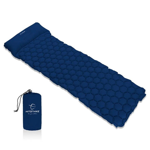 Inflatable Moistureproof Camping Mat With Pillow - 4 Colors