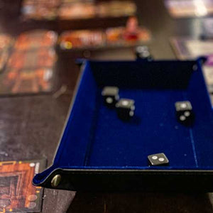 Blue Collapsible Dice Tray saving dice throws at game night