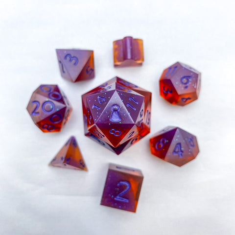Purple Amber Dice - Resin Dice - Questing Tools