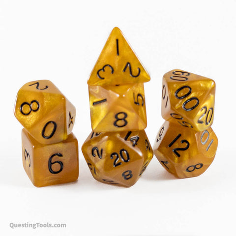 Solid Amber Dice - Acrylic Dice - Questing Tools
