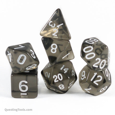 Smoke Quartz I ❤️ Dice - Acrylic Dice - Questing Tools