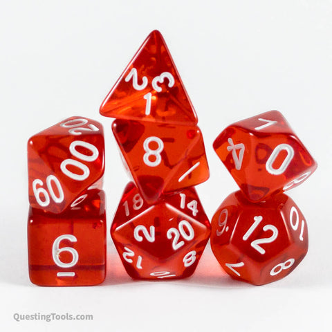 Ruby I ❤️ Dice - Acrylic Dice - Questing Tools