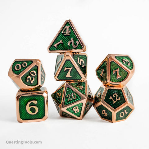 Quetzalcoatl Dragon Scale Dice - Metal Dice - Questing Tools