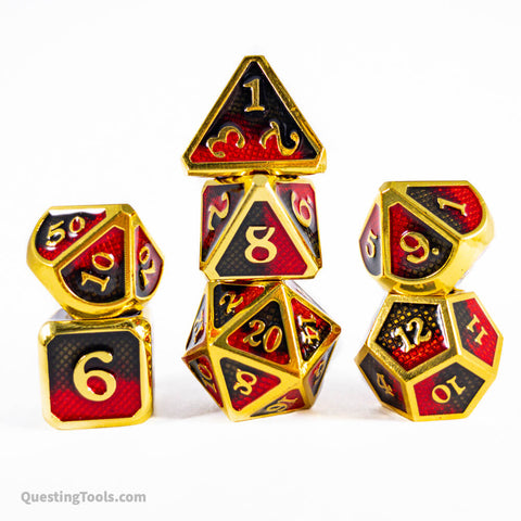 Hell Fire Dragonhide Dice - Metal Dice - Questing Tools