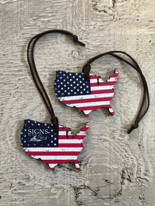 U.S.A. Wooden Bag Tag / Ornament