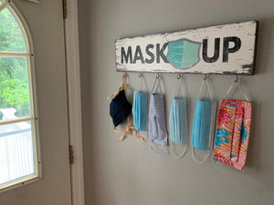 Mask Up Wall Display Sign with Hooks