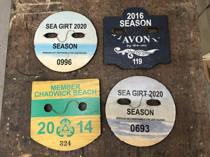 Beach Badge Sign Size 10x10 Custom Town / Year