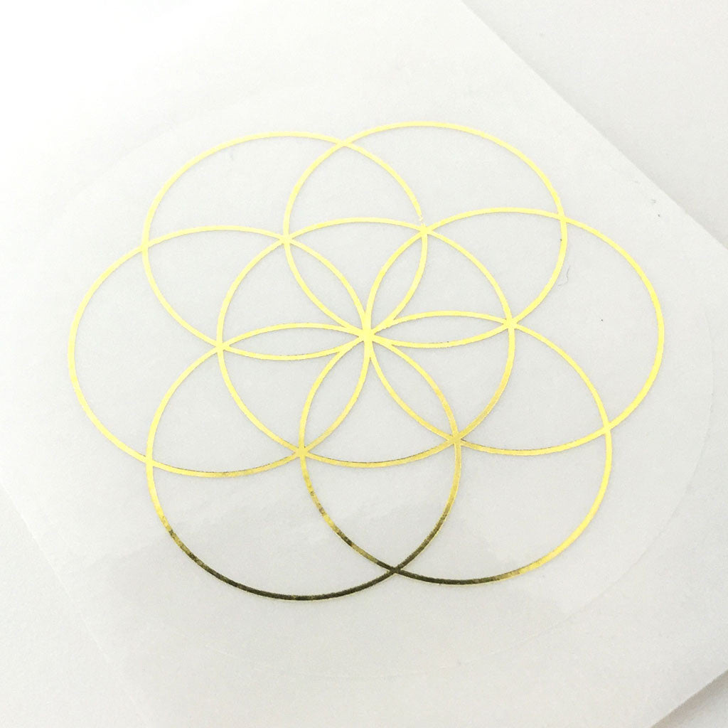 sacred geometry gold on transparent stickers full circle sg