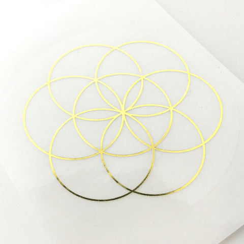 Image of Sacred Geometry Gold on Transparent Stickers
