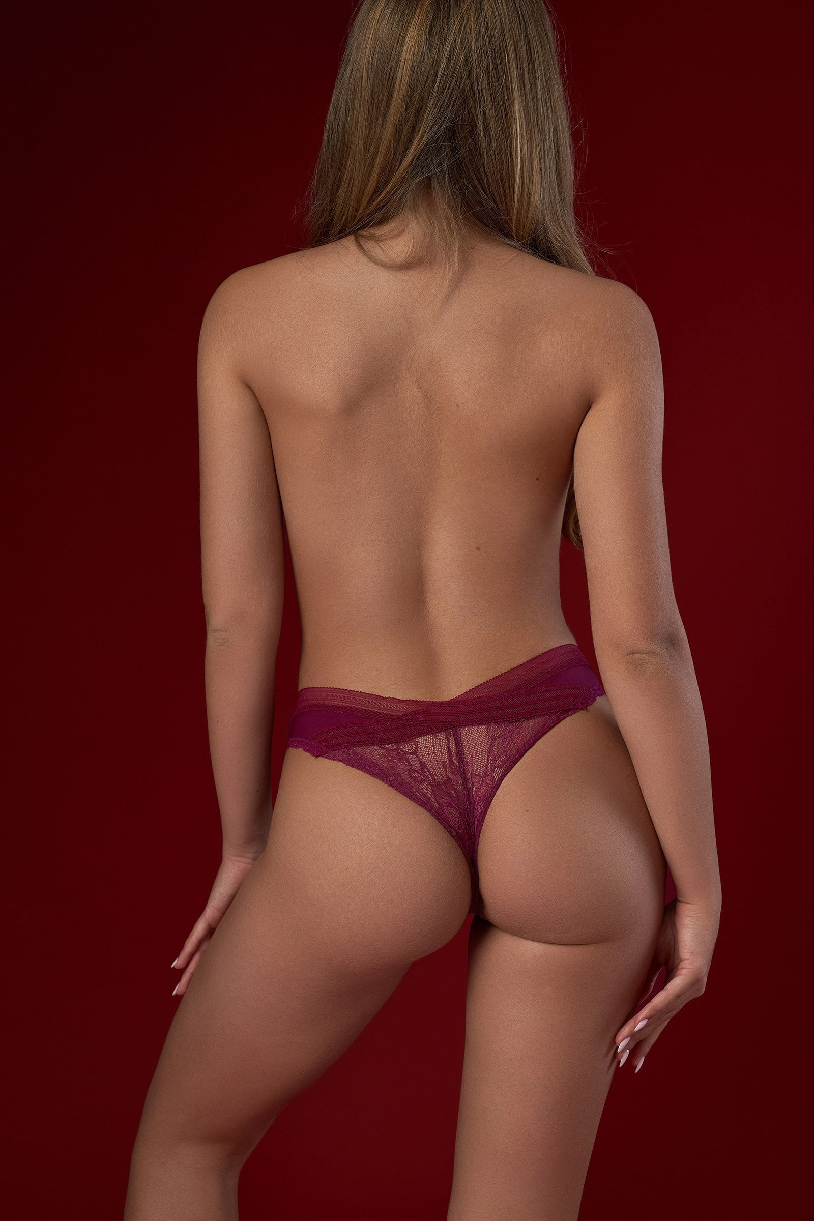 Lace Trim Mesh Panties in Red
