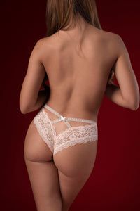 Embroidered Lace Cheeky Panties in Pink