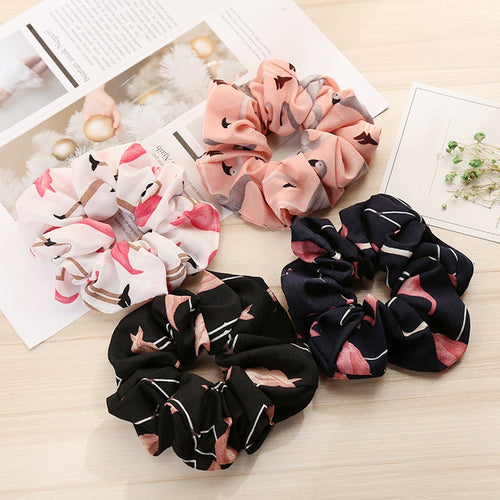 Floral Flamingo Scrunchies