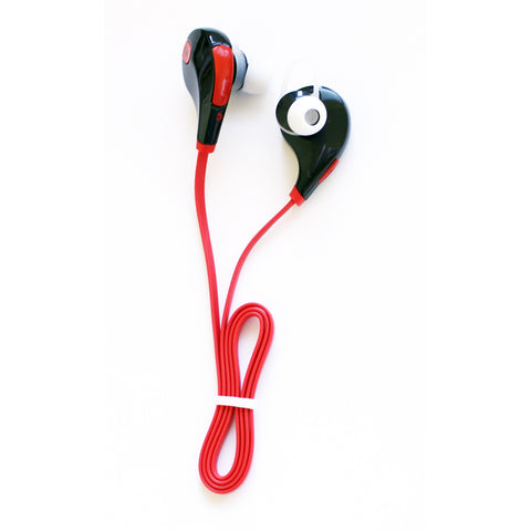 Wireless SweatProof Sport Bluethooth Earbud Headphones With Microphone. Black earbud with Red connecting wire.
