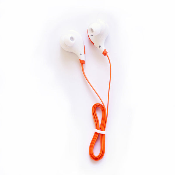 Wireless SweatProof Sport Bluethooth Earbud Headphones With Microphone. White earbud with Orange connecting wire.