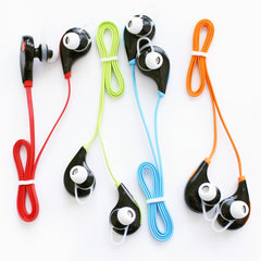 Wireless SweatProof Sport Bluethooth Earbud Headphones With Microphone. Black earbud with Blue connecting wire.