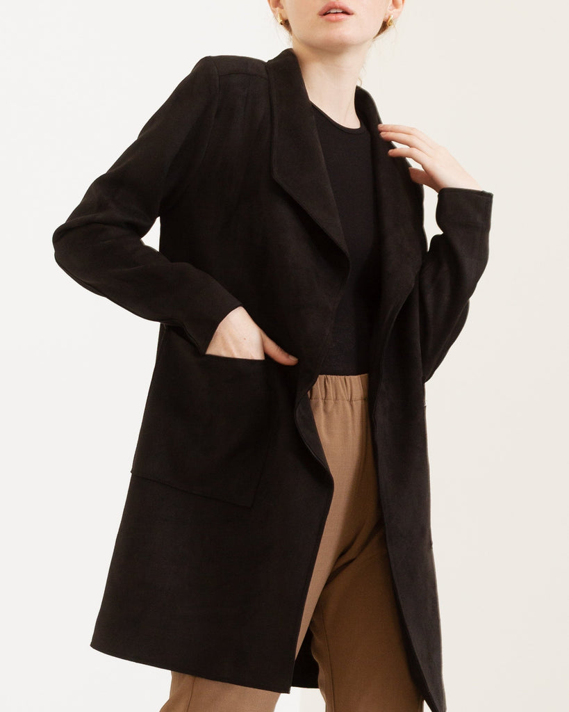 Modern Citizen  |  Amber Vegan Suede Pocket Coat (Black) $110