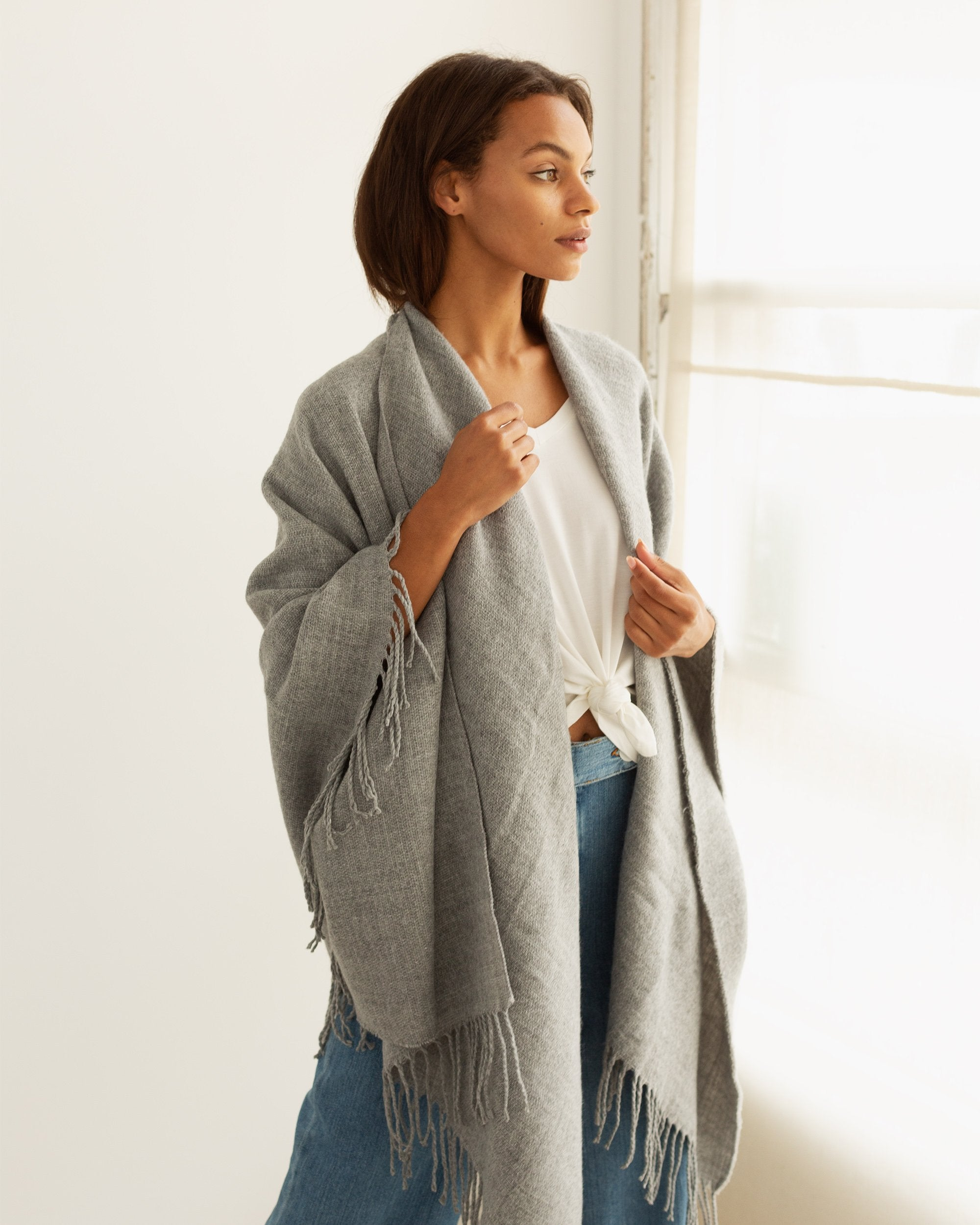 Modern Citizen | Modern Citizen-Caro Textured Knit Wrap (Grey)-Scarves-One Size-Grey- $85
