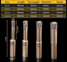 Load image into Gallery viewer, Dry Diamond Drill Bits(1 set consist of 6mm, 8mm, 10mm and 12mm )