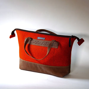 Felt and Waxed Canvas Zippered Bag