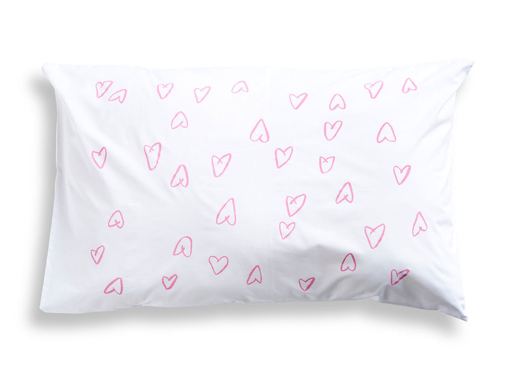 Pink Hearts Pillowcase