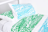 Green Graffiti Pillowcase