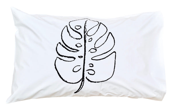 Black Monstera Pillowcase