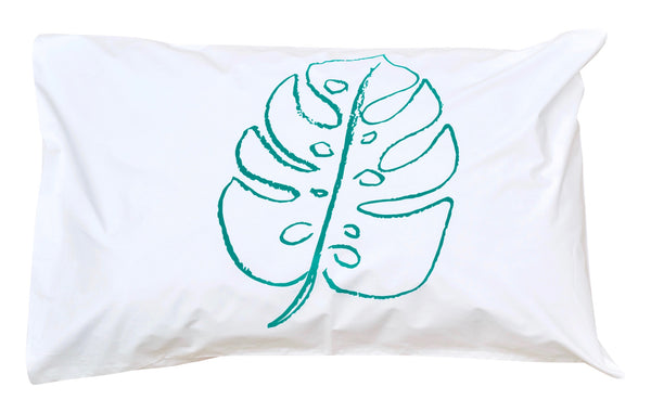Green Monstera Pillowcase