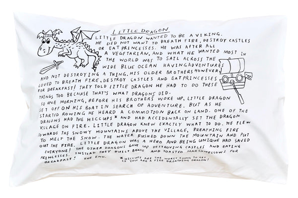 Little Dragon Bedtime Story Pillowcase -Black