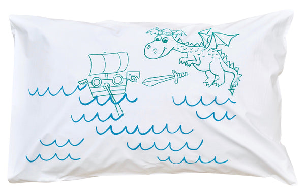 Little Dragon Pillowcase -Green + Blue