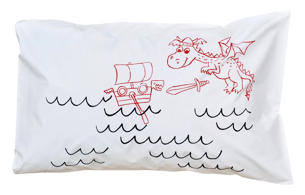 Little Dragon Pillowcase -Red + Black