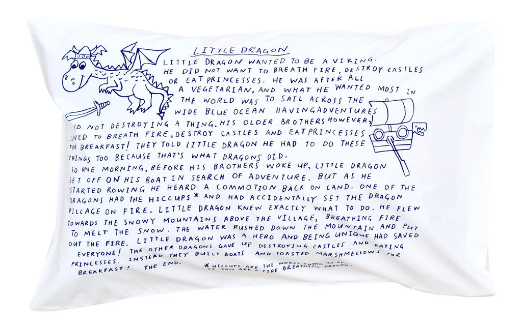 Little Dragon Bedtime Story Pillowcase -Navy