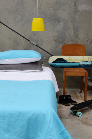 Blue Linen Colourblock Duvet Cover