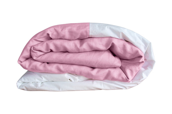 Pink Linen Colourblock Duvet Cover