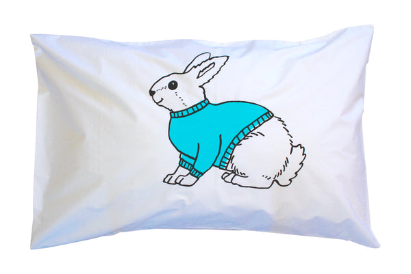 Blue|Black Bunny Pillowcase