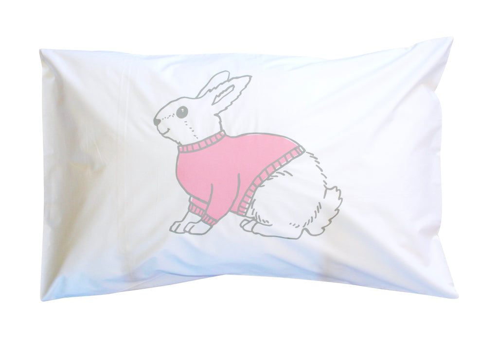 Pink|Grey Bunny Pillowcase
