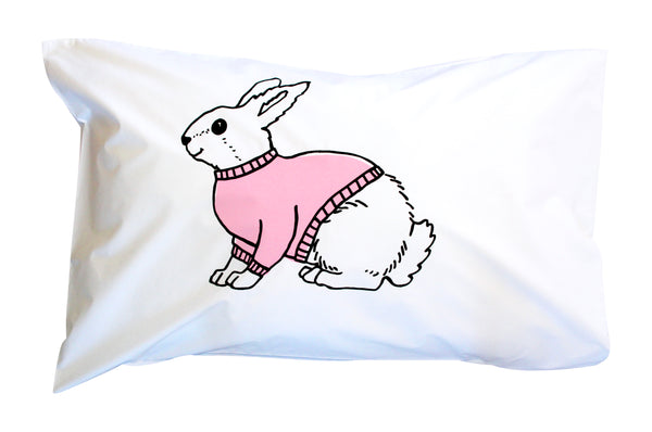 Pink|Black Bunny Pillowcase