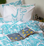 Teal Roar Dino Pillowcase