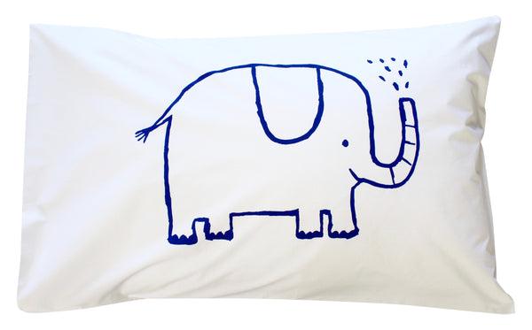 Navy Elephant Pillowcase