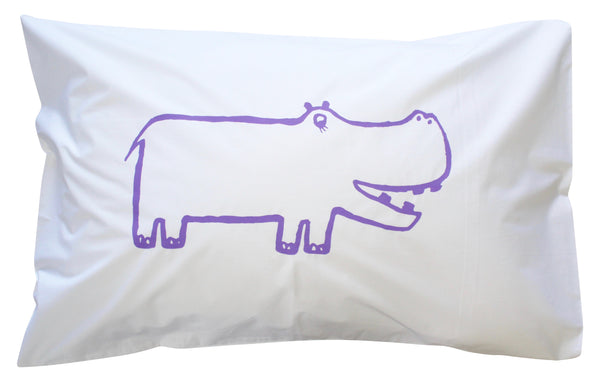 Purple Hippo Pillowcase