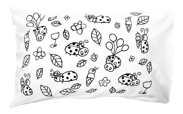 Black Mini Ladybug Pillowcase