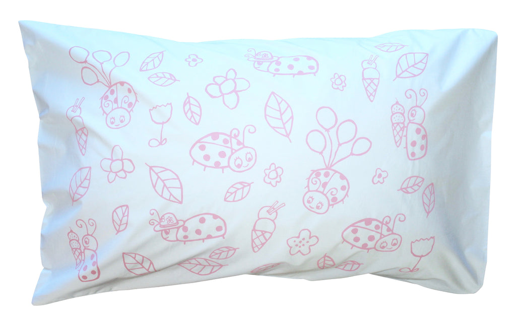 Pink Mini Ladybug Pillowcase