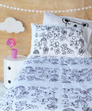 Black Mini Koala Duvet Cover