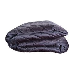 Sunday Velvet Quilted Throw - Charcoal