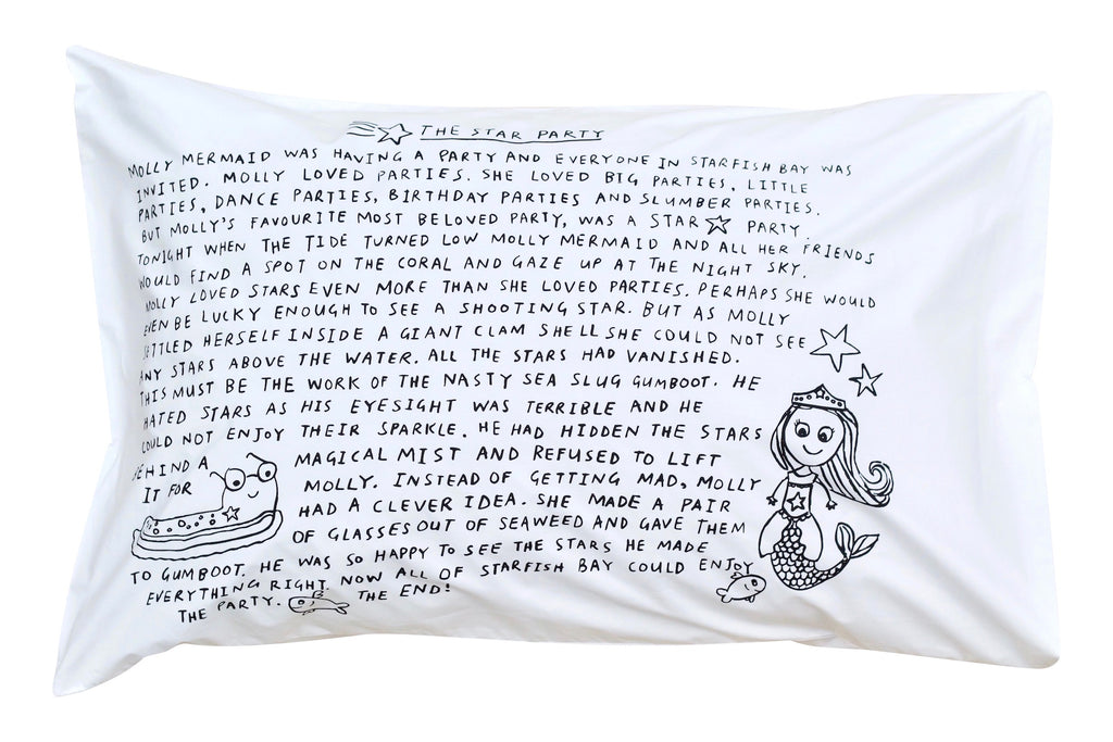Star Party Bedtime Story Pillowcase -Black