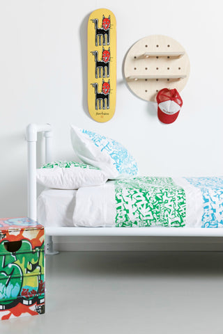 Blue/Green Graffiti Duvet Cover