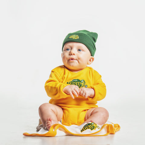 NDSU Bison Gold Long Sleeve Bodysuit - One Herd
