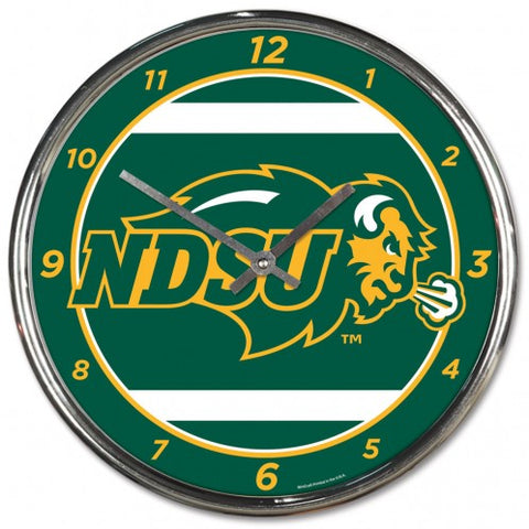 NDSU Bison Chrome Clock - One Herd