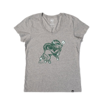 NDSU Bison Scoop Neck Womens Tee With Snorty - One Herd